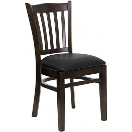 Hercules Series Walnut Finished Vertical Slat Back Wooden Restaurant Chair - Black Vinyl Seat