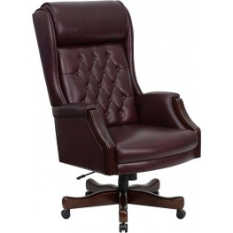 High Back Traditional Tufted Burgundy Executive Swivel Office Chair
