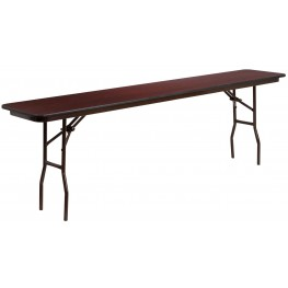 """96"""" Rectangular Walnut Melamine Laminate Folding Training Table"""