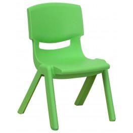 "20""H Green Plastic Stackable School Chair"