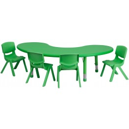 "65"" Adjustable Half-Moon Green Plastic Activity Table Set with 4 School Chairs"