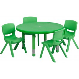 "33""Round Adjustable Green Plastic Activity Table Set with 4 School Stack Chairs"