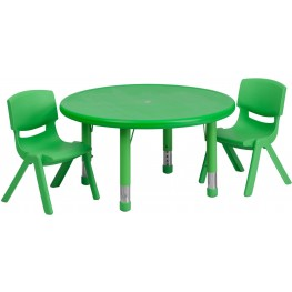 "33""Round Adjustable Green Plastic Activity Table Set with 2 School Stack Chairs"