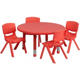 "33""Round Adjustable Red Plastic Activity Table Set with 4 School Stack Chairs"