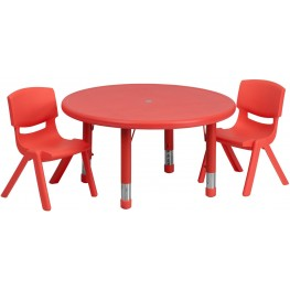"33""Round Adjustable Red Plastic Activity Table Set with 2 School Stack Chairs"