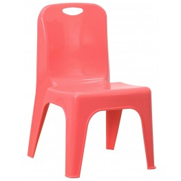 Red Plastic Stackable School Chair with Carrying Handle