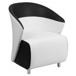 White Leather Reception Chair with Black Detailing