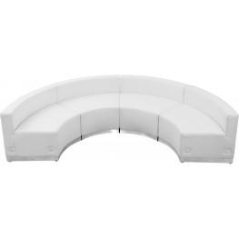 31478 HERCULES Alon Series White Leather 4 Piece Reception Configuration Set