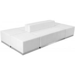 31497 HERCULES Alon Series White Leather 6 Piece Reception Configuration Set