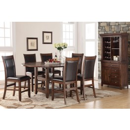 """Restoration Brown 65"""" Round Counter Height Dining Room Set"""