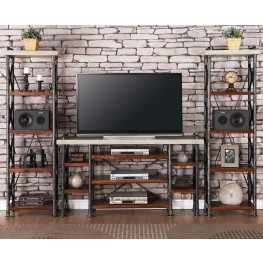Steampunk Brown Entertainment Wall Unit