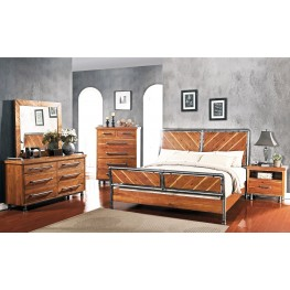 Steampunk Brown Panel Bedroom Set