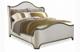 Chateaux Walnut King Upholstered Shelter Bed