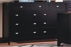 Luna Black Cherry 9 Drawer Dresser