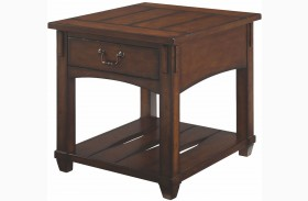 Tacoma Medium Brown Rectangular Drawer End Table