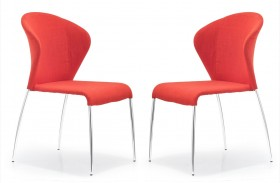Oulu Tangerine Fabric Chair Set of 2