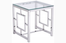 Geranium Polished Stainless Steel Side Table