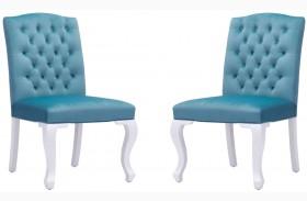 Bourbon Polar Blue Velvet Dining Chair Set of 2