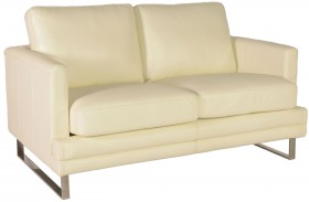 Melbourne White Leather Loveseat