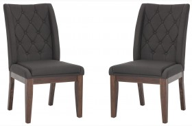 Louise Dark Charcoal Fabric Dining Chair Set of 2