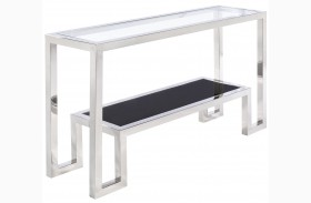 Storm Glass Top Console Table