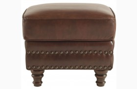 Bentley Rustic Sauvage Leather Ottoman