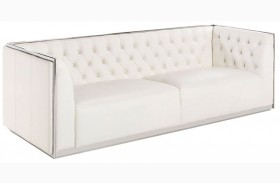 Maxime White Leather And Polished Stainless Steel Frame Sofa