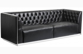 Maxime Black Leather And Polished Stainless Steel Frame Sofa