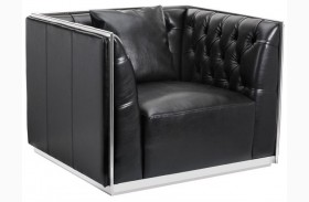 Maxime Black Leather And Polished Stainless Steel Frame Armchair