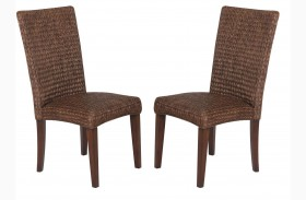 Westbrook Banana Leaf Brown Side Chair Set of 2