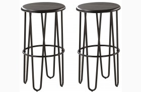 Dark Cappuccino Bar Stool Set of 2