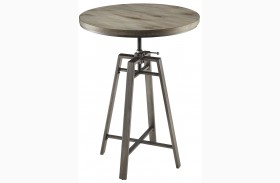Wire Brushed Nutmeg Adjustable Bar Table