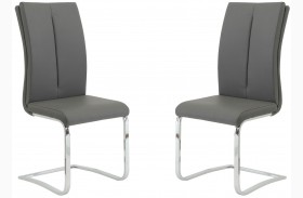 Lowry Grey and Chrome Side Chair Set of 2