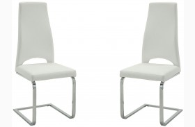 Augustin White and Chrome Side Chair Set of 2