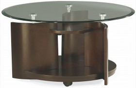Apex Dark Umber Brown Round Cocktail Table