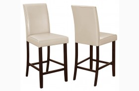 Fattori Cream Leatherette Counter Height Chair Set of 2