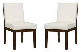 Couture Elegance White Upholstered Side Chair Set of 2