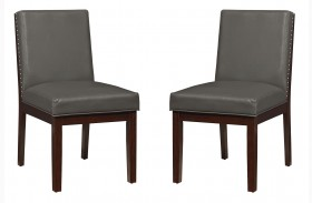 Couture Elegance Gray Upholstered Side Chair Set of 2
