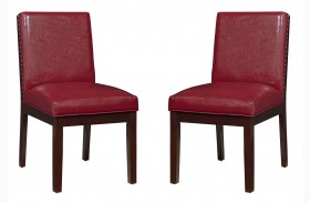 Couture Elegance Red Upholstered Side Chair Set of 2
