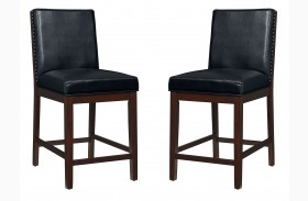 Couture Elegance Black Upholstered Counter Height Chair Set of 2