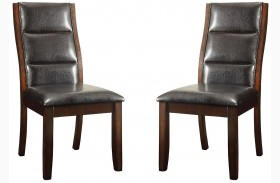 Lacombe Cappuccino Black Leatherette Side Chair Set of 2