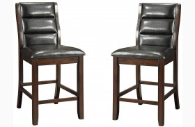Lacombe Cappuccino Black Leatherette Counter Height Chair Set of 2