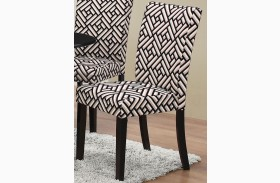Dorsett Geometric and Black Side Chair Set of 2