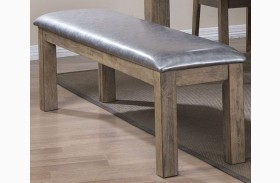 Ludolf Silver Metallic and Antique Natural Bench