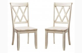 Vintage Vanilla Bean X-Back Side Chair Set of 2