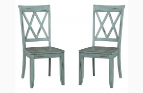 Vintage Antique Blue X-Back Side Chair Set of 2