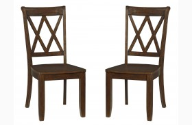 Vintage Sienna Brown X-Back Side Chair Set of 2