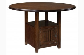 Sonoma Warm Medium Oak Round Drop Leaf Counter Height Table