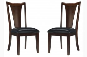 Park Avenue Espresso Brown Upholstered Side Chair Set of 2