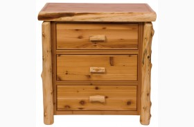 Traditional Cedar Value Half Log Three Drawer Chest